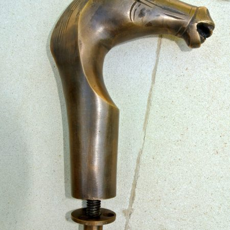 brass crutch HORSE head WALKING STICK hand Made end only 2 parts handle