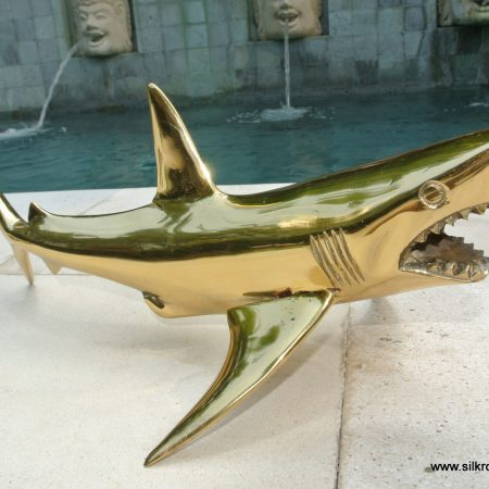 GREAT WHITE SHARK solid brass large heavy decoration stunning hand made 40 cm statue head jaw teeth