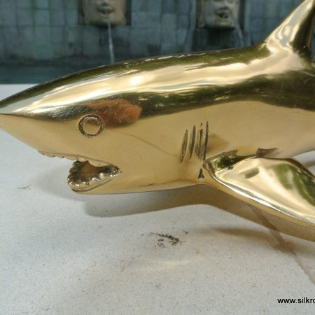 GREAT WHITE SHARK solid brass heavy decoration stunning hand made 30 cm statue head jaw teeth