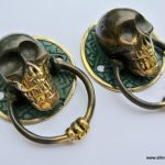 "2 small SKULL handles small solid BRASS old look amazing NEW 2"" pulls drawer"