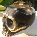 "SKULL head ash tray solid BRASS old vintage style collect 6"" new statue aged"
