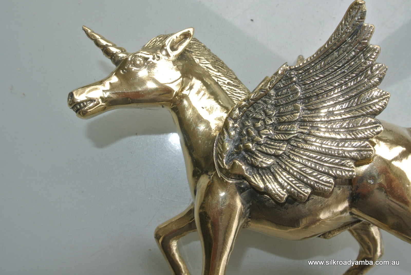 Small 7 High Pegasus Brass Heavy Statue Display Vintage
