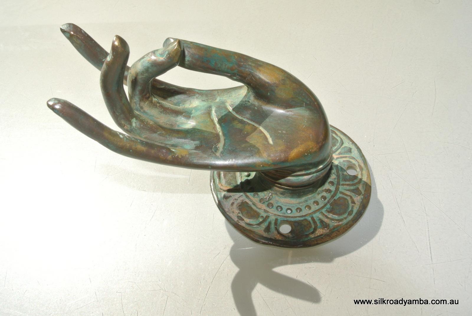 Pull Handle Hands Brass Green Door Antique Old Style Knob Hook 3