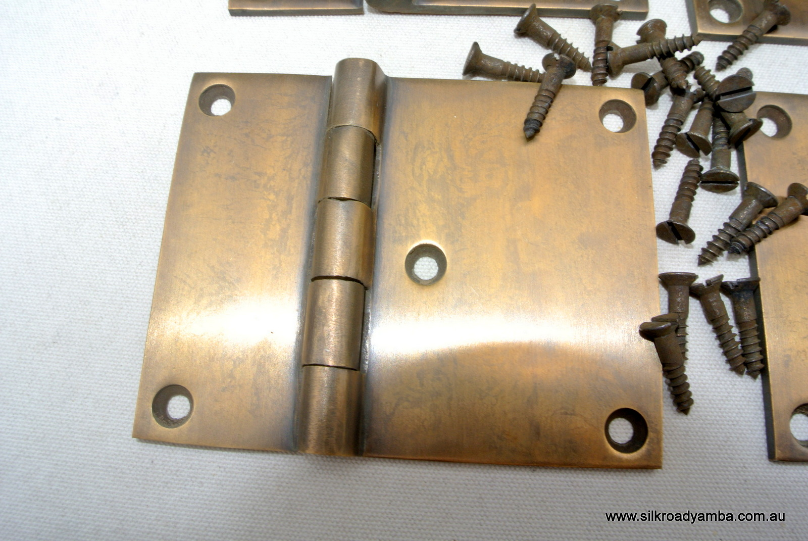 4 Cast Hinges Vintage Age Style Solid Brass Door Box Restoration