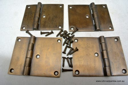 "4 cast hinges vintage age style solid Brass DOOR BOX restoration heavy 3"" screws"