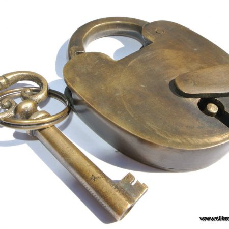 "Padlock Vintage stye antique look aged solid heavy brass aged key lock works 3"" size"