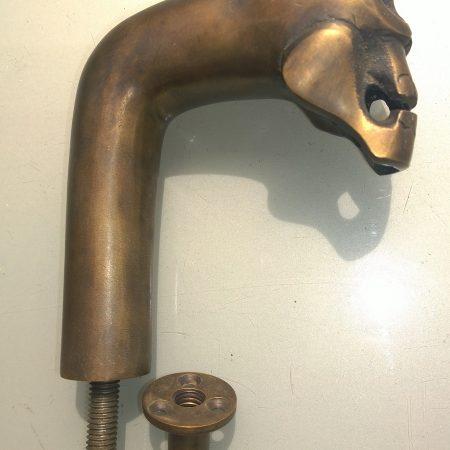 """SKULL head shape door handle pull knob hook solid brass handle thread heavy 5"""" crutch"""