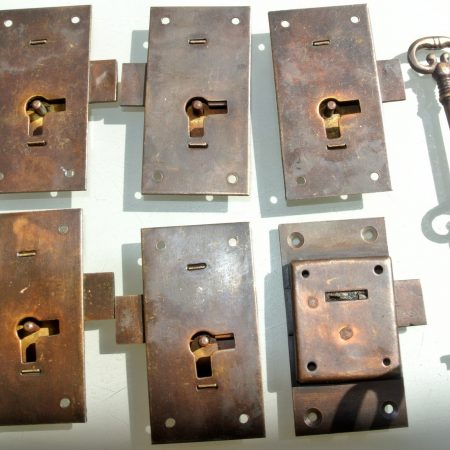 6 flush locks Vintage stye antique look solid heavy brass aged 2 key lock works 2.1/2""