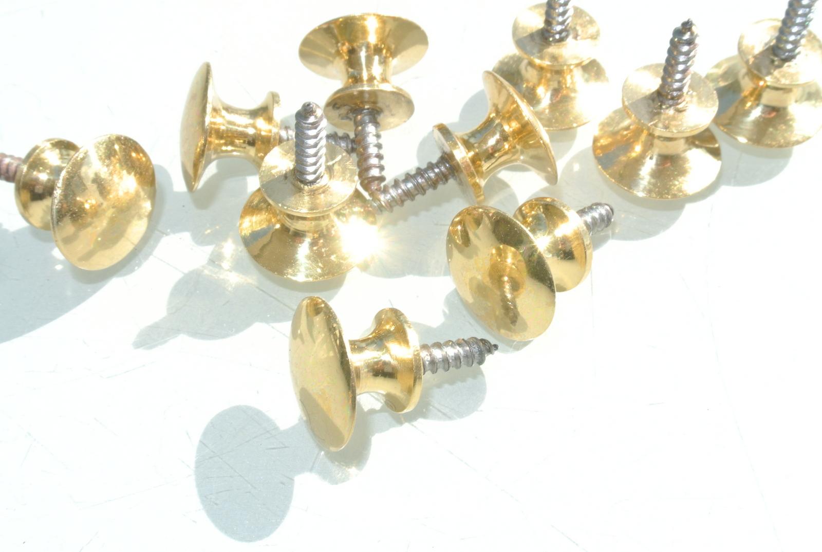 10 Very Tiny Screw Knobs Pulls Handles Antique Solid Heavy
