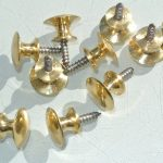 10 very TINY screw KNOBS pulls handles antique solid heavy brass drawer knob 15 mm