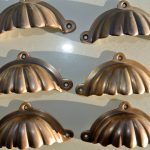 "6 shell shape pulls handles solid brass vintage style 4""drawer heavy cast inc screws"