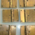 "6 cast hinges vintage age style solid Brass DOOR BOX restoration heavy 3"" screws"