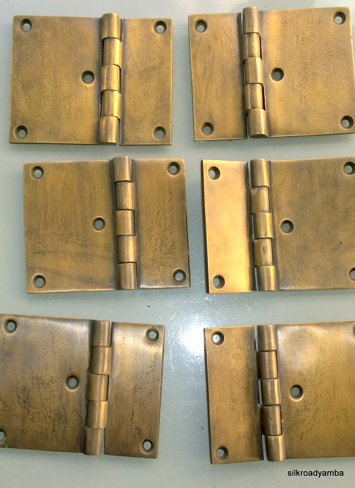 6 Cast Hinges Vintage Age Style Solid Brass Door Box