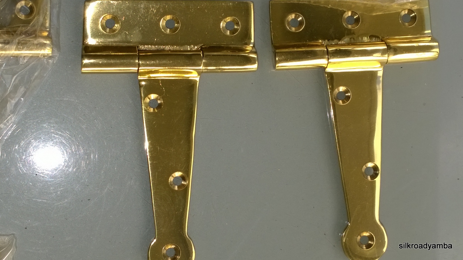 6 Polished Small Hinges Vintage Aged Style Solid Brass