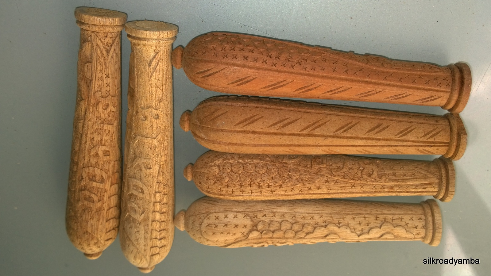6 Wooden Bread Knife Handles Hand Made Carved Bread