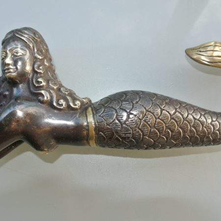 "MERMAID heavy solid heavy Brass aged statue 9"" shell"
