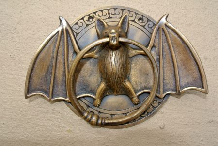 heavy Door Knocker BAT ring old heavy SOLID cas tBRASS vintage antique style 7""