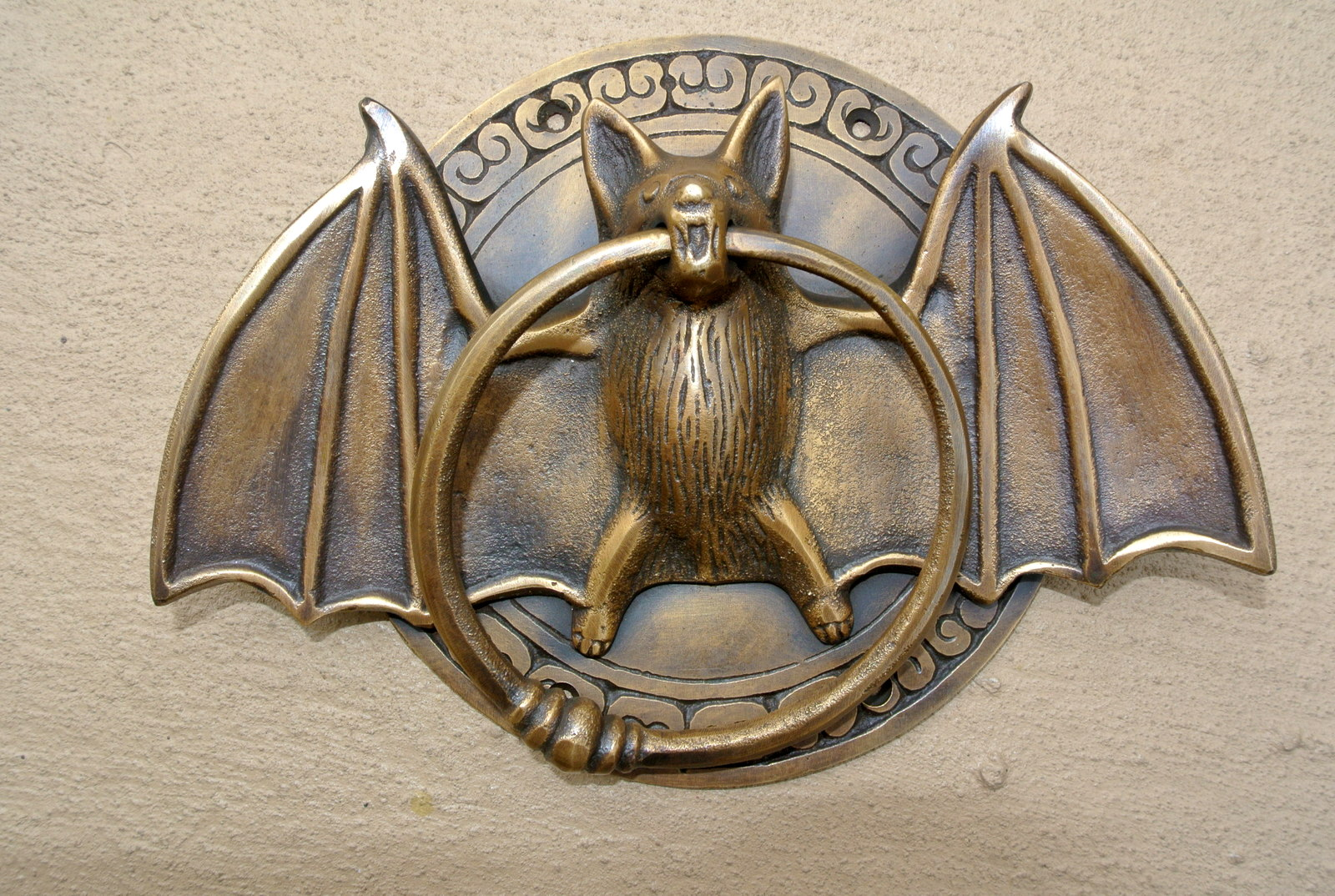 Heavy Cast Solid Brass Bronze Patina Small Heavy Bat Door