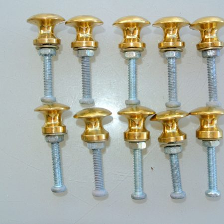 10 very TINY bolt KNOBS pulls handles antique solid heavy brass drawer knob 15 mm