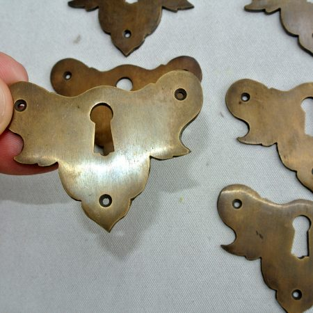 6 KEY hole shield covers old style vintage antique look solid heavy brass aged escutcheon