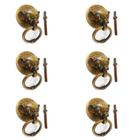 """6 heavy ELEPHANT pulls handles antique solid brass vintage drawer knobs ring 2.1/4"""""""
