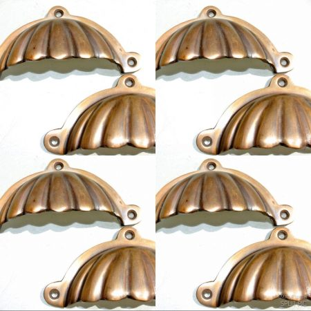 "8 shell shape pulls handles solid brass vintage style 4""drawer heavy"