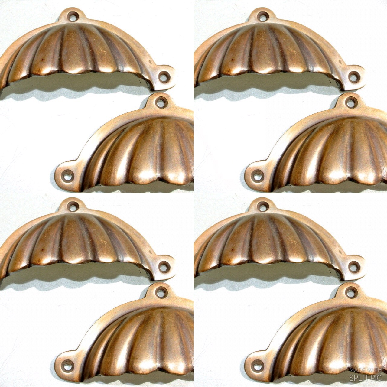 8 Shell Shape Pulls Handles Solid Brass Vintage Style 4