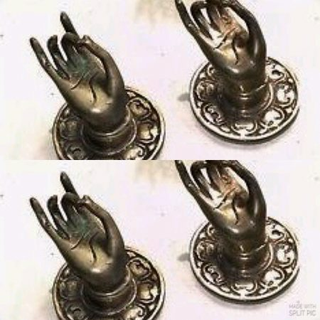 4 small Buddha Pulls handle Fingers silver brass door old style HAND knobs backplate 2.1/4""