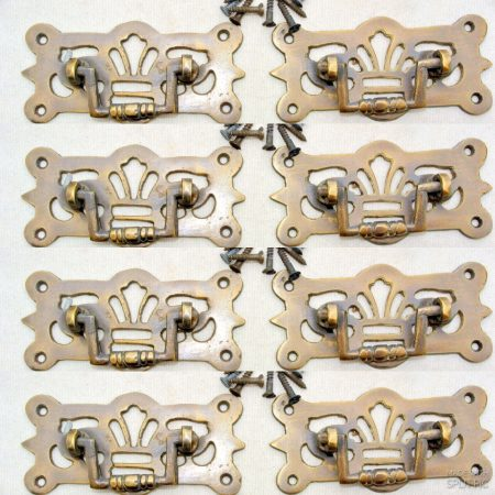 8 small heavy pulls handles BOX antique solid brass vintage old replace drawer heavy 3 ""