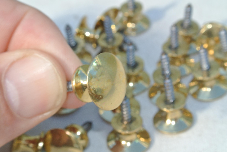 20 Very Tiny Screw Knobs Pulls Handles Antique Solid Heavy