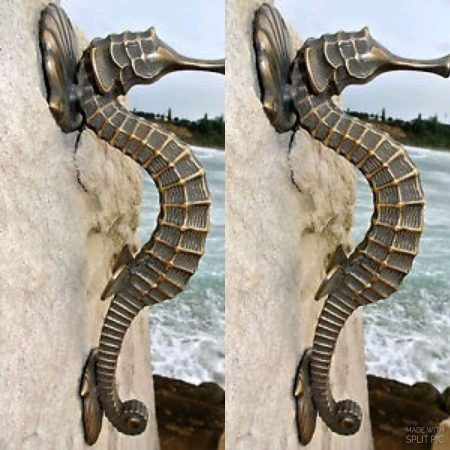 "2 large SEAHORSE solid brass door old style house PULL handle 13"" heavy aged"
