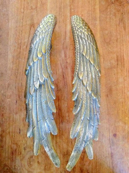 2 ANGEL WING hollow brass door PULL old style polished house PULL handle 33cm