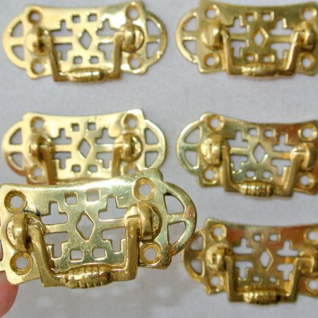 6 small pulls drops handles antique style POLISHED solid brass vintage old replace drawer heavy 55 mm