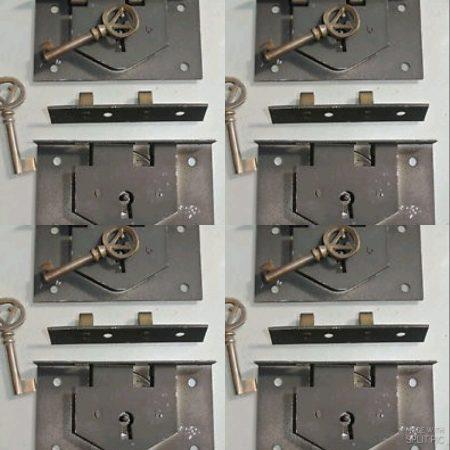 "8 BOX LOCK Vintage stye antique look solid heavy brass & metal aged key lock flush mount 4 "" black recessed hand made 8 BOX LOCK Vintage stye antique look solid heavy brass & metal aged key lock flush mount 4 "" black recessed hand made"