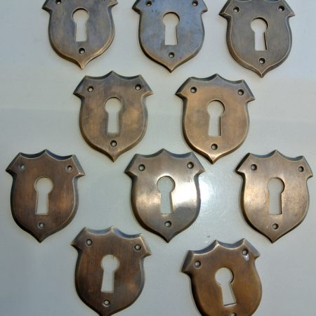 "10 small key hole covers 1.3/4 "" french antiques 45mm lock cover Vintage style solid pure brass heavy box furniture escutcheon hand made"