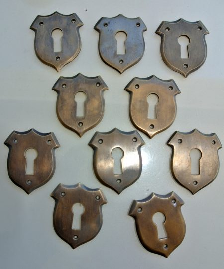 """10 small key hole covers 1.3/4 """" french antiques 45mm lock cover Vintage style solid pure brass heavy box furniture escutcheon hand made"""
