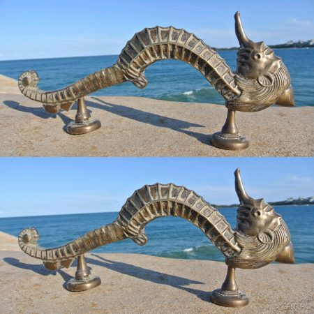 2 Large SEAHORSE solid brass door old style heavy house PULL handle 14""