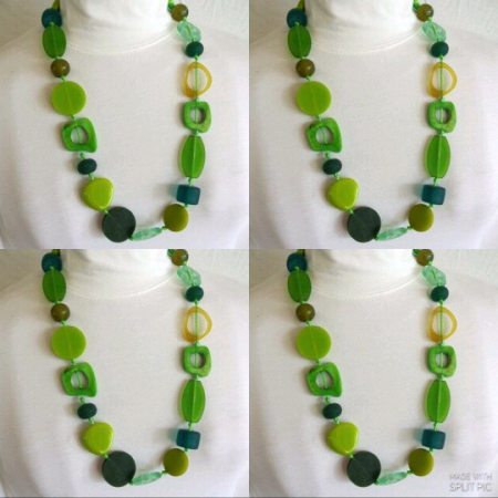 4 Resin necklace GREEN hand made stunning fashion jewellery bead NEW light
