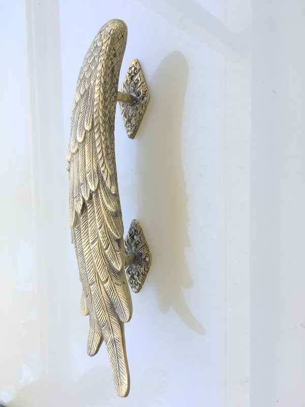 2 Angel Wing Hollow Solid Brass Door Pull Old Style