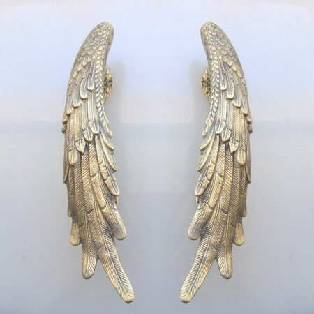 ANGEL WING hollow brass door PULL old style polished house PULL handle 33cm wings natural