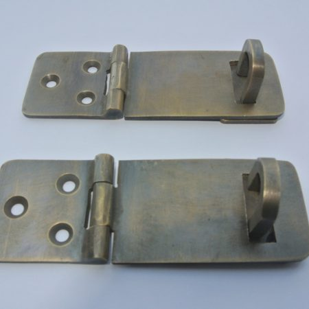 2 small box catch hasp latch aged real brass old style house DOOR heavy rectangle solid brass Antique Vintage style Lock hand made padlock