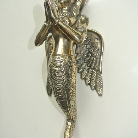"2 stunning praying angel wings Dewi 32 cm polished solid hollow heavy brass door antique style old style house PULL handle 12"" wings"