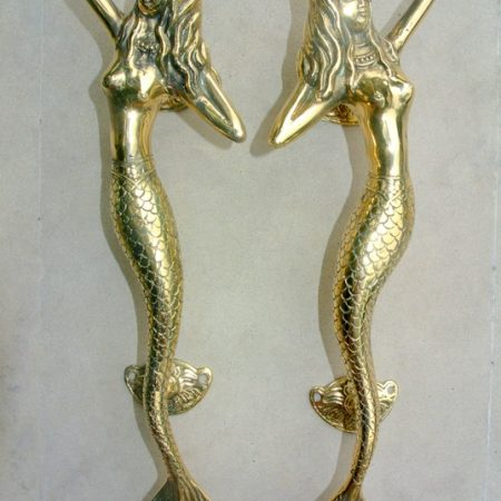 "2 Skinny stunning 13 ""inch MERMAID solid real brass (hollow) door PULL old style house handle 34 cm aged polished pair seaside gate grab"