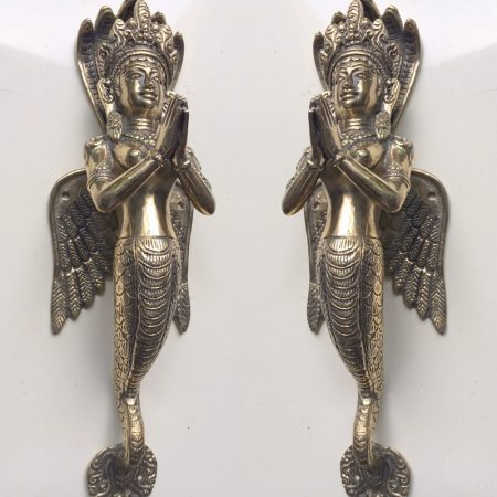 """2 stunning praying angel wings Dewi 32 cm polished solid hollow heavy brass door antique style old style house PULL handle 12"""" wings"""