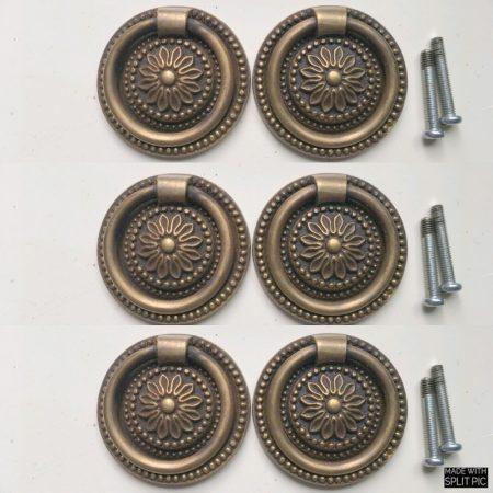 "6 Vintage Brass 2 "" Victorian Floral sheraton Round Ring Pull Cabinet Drawer Dresser Handle round Knob Pulls bronze look aged"
