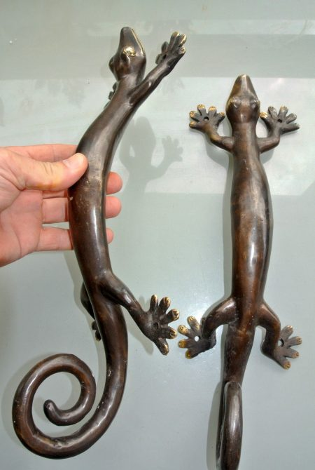 2 Large GECKO solid pure brass door antique old style house PULLS handles 16 ""