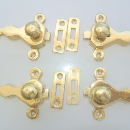 """Solid brass catches 2.1/2"""" inches latch antique polished finish finish - Hand made vintage style polished - 4 complete catches - Made from solid brass Size approx 63 mm x 54 mm"""