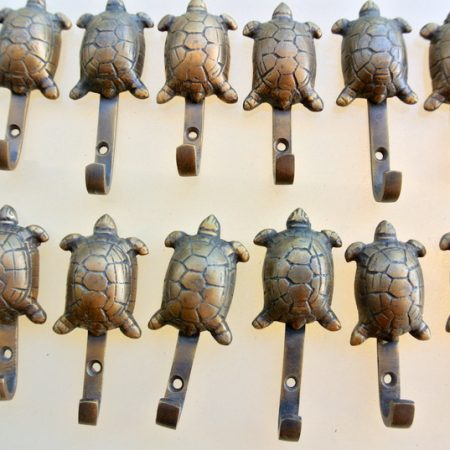12 tiny small turtle HOOKS aged solid BRASS old vintage style natural 7 cm high hand made vintage pure aged picture