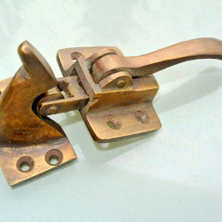 "rare ICE BOX CATCH lever aged antique deco style solid pure brass heavy offset 4"" left & right vintage old aged style hand made cast"