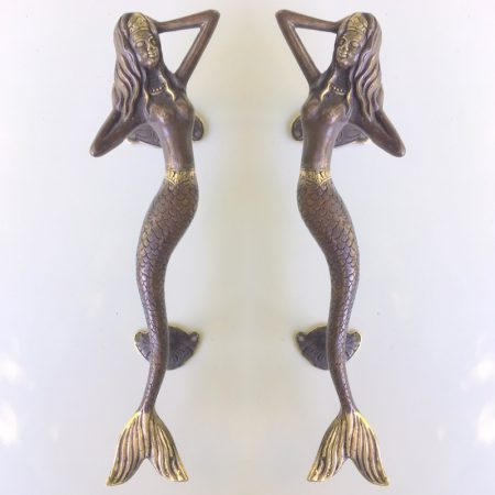 """skinny MERMAID 35 cm solid brass door PULL old style heavy house PULL handle 13"""" aged brass BRONZE PATINA"""